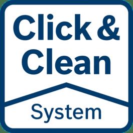 Click & Clean系统 – 3大优势 工件表面良好的可视性:工作更精确快速 快速抽离有害尘屑:保护您的健康 减少尘屑:延长工具和附件的使用寿命
