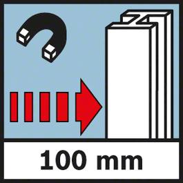 金属探测深度 钢探测深度,最大 100 毫米