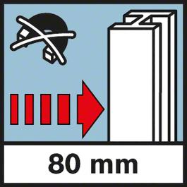 磁性金属探测深度 铜探测深度,最大 80 毫米