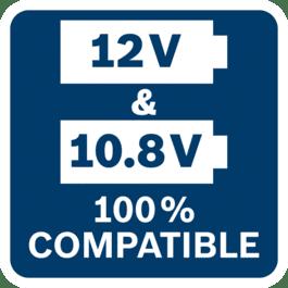所有Bosch Professional 10.8V工具、电池和充电器与所有Bosch Professional 12V工具、电池和充电器100%兼容