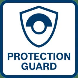 卓越的用户保护 反转防护罩 - 十分牢固,即使磨片破裂也无碍