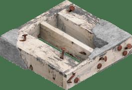 含灰浆和钉子的建筑木材