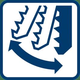锯片摆动 可调 3 级或 4 级锯片摆动。