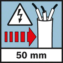 带电电缆探测深度 带电电缆探测深度,最大 50 毫米